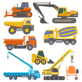 Construction equipment and machinery with trucks crane bulldozer flat yellow transport vector illustration Stock Photo