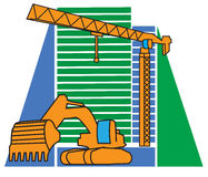 Construction equipment and a new-home Stock Photo