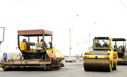 Construction equipment at road building royalty free stock photography