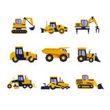 Construction Equipment Road Roller, Excavator Royalty Free Stock Photo