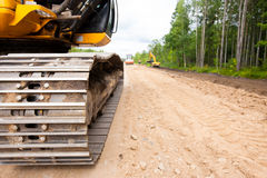 Construction equipment during road works Royalty Free Stock Photo