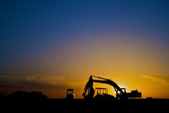 Construction equipment in Silhouette, horizontal Royalty Free Stock Photos