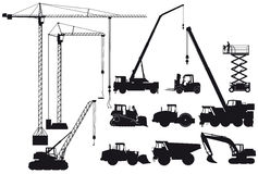 Construction equipment silhouettes Royalty Free Stock Photo