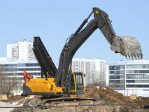 Construction equipment at the site Stock Image