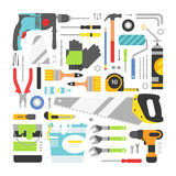 Construction equipment tools flat icons set Royalty Free Stock Photography