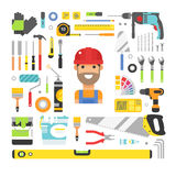 Construction equipment tools flat icons set Stock Images