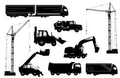 Construction equipment: trucks, excavator, bulldozer, elevator, cranes Royalty Free Stock Photos