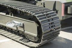 Construction equipment - unit. caterpillar tractor. fragment Royalty Free Stock Photo