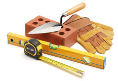 Construction equipment. Various type of construction tools against white background Stock Photos