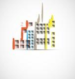 Construction et illustration de ville d'immobiliers abrégez le fond