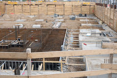 Construction Excavation. Site preparation for construction of a residential house with formwork Royalty Free Stock Photography
