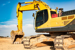 Construction excavator. Close-up Royalty Free Stock Images