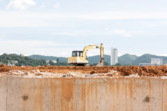 Construction Excavator at a construction Royalty Free Stock Image