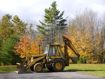 Construction: excavator and grader parked Royalty Free Stock Images