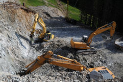 Construction excavators Royalty Free Stock Photo