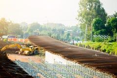 Construction fabrication steel reinforcement bar at the bridge construction site stock photos