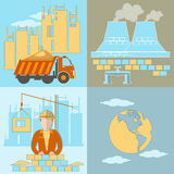 Construction of factories icons Stock Photo