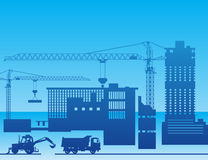 Construction of a factory royalty free illustration