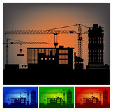 Construction of a factory stock illustration
