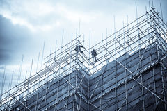 Construction falsework and builder stock photo