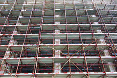 Construction fence. Construction site fence structure on a tall building Royalty Free Stock Photography