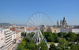 Construction of the ferris wheel Downtown Budapest, Hungary Stock Photos