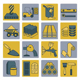 Construction and finishing materials icon set. Thin line design. Isolated on white. Create your industrial infographics collection. Vector illustration Stock Photography