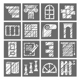 Construction and finishing materials, icons, shading pencil, white, gray, vector. Finishing of buildings and premises. Construction icons. Flat, square pictures Stock Photography