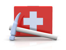 Construction First aid. 3D rendered Illustration. First aid case with a hammer Stock Photo