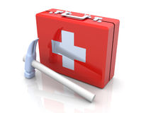 Construction First aid. 3D rendered Illustration. First aid case with a hammer Stock Image