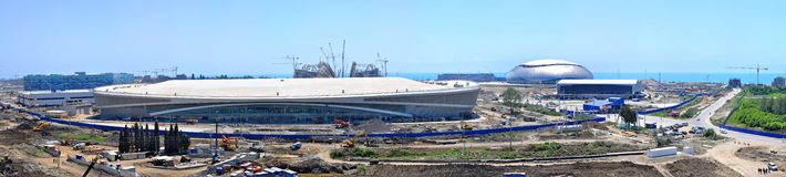 Construction of five ice arenas in Sochi Olympic Park on June 12, 2012 in Sochi Stock Images