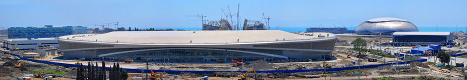 Construction of five ice arenas in Sochi Olympic Park on June 12, 2012 in Sochi Royalty Free Stock Photos