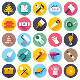 Construction Flat Icon Set. Flat style vector illustrations with long shadows; construction tools icons set Stock Photography
