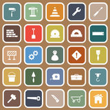 Construction flat icons on brown background Royalty Free Stock Photo
