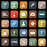 Construction flat icons with long shadow Royalty Free Stock Images