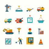 Construction flat icons set. Building construction structure elements flat pictograms collection with barrow block elevating crane truck abstract isolated vector Royalty Free Stock Image