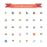 Construction Flat Icons. Set. Vector illustration Royalty Free Stock Images