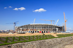 The construction of football stadium Stock Photos