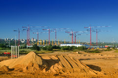 The construction of football stadium for the championship 2018. Stock Image