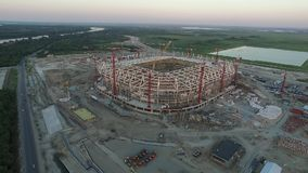 The construction of football stadium for the championship 2018. Rostov-on-Don. Russia stock video