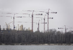 Construction of a football stadium in Rostov-on-Don Royalty Free Stock Images