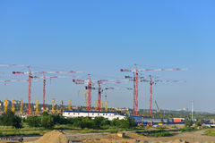 The construction of football stadium. Rostov-on-Don. Russia Royalty Free Stock Photo