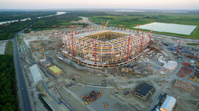 The construction of football stadium. Rostov-on-Don. Russia. Construction of the stadium at night. Preparing for the championship in 2018 Stock Image