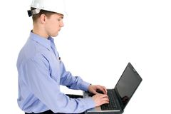 Construction foreman computer Royalty Free Stock Images
