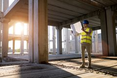 Construction foreman on the job site royalty free stock image