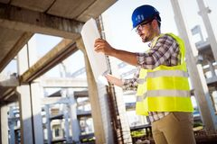 Construction foreman on the job site royalty free stock photos