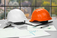 Construction foreman's table at daytime. Stock Images