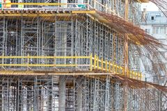 Construction formwork for casting of monolithic concrete structures and scaffolding royalty free stock photos