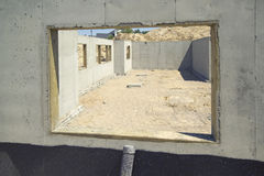 Construction-Foundation. Window view of a new home construction foundation. (14MP camera Royalty Free Stock Photography