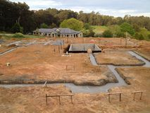 Construction. Foundations of domestic building construction in rural Australia Stock Images
